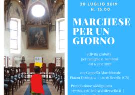 """Attività per famiglie """"Marchese per un giorno"""" 20 luglio 2019"""